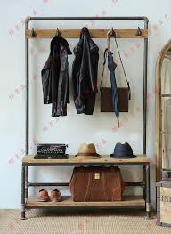 nordic american country industrial pipes iron coat rack floor
