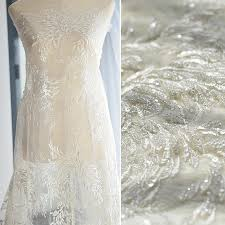 wedding dress fabric white vintage glitter fabric with embroidery lace