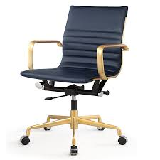 Blue Leather Executive Office Chair Amazon Com Meelano 348 Gd Nvy Office Chair In Vegan Leather Gold