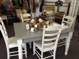 french linen and old white chalk paint table and chairs at