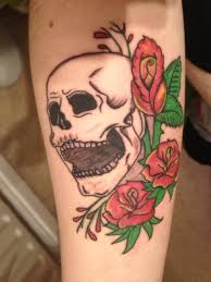 girly skull tattoos with roses harry potter on arm best