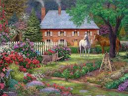cottage painting horses garden artwork painting of country