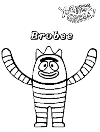 happy brobee yo gabba gabba coloring happy brobee