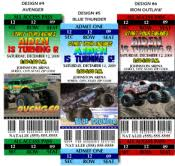 texas monster truck show 8 monster jam truck birthday ticket style invitations