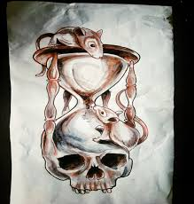 attractive big hourglass with human skull and crawling mouses