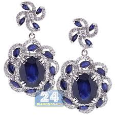 womens earrings 18k white gold 8 73 ct blue sapphire diamond womens flower earrings