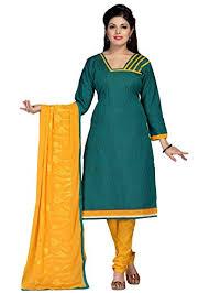 Buy Green Plain Cotton Silk Vismay Cotton Silk Forestgreen U0026 Gold Plain With Border Churidar