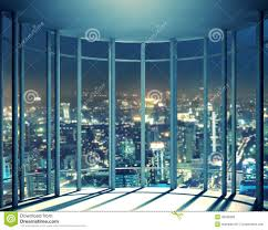 night view of buildings from high rise window stock photo image