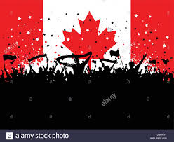 silhouette of a party crowd with banners and flags on a canadian
