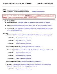 outline template for a speech   Persuasive Speech Outline Template    Point Format Length