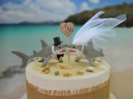 wedding cake topper great white shark lover ocean beach themed