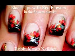 easy red flower nails diy floral nail art design tutorial youtube