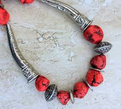 red big necklace images Red silver necklace chunky nugget tribal necklace big bead JPG