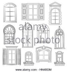 window set different architectural style of windows doodle sketch