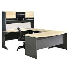 altra pursuit u shaped desk with hutch bundle natural gray staples