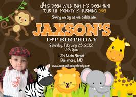 Jungle Birthday Card Custom Photo Invitation Animal Jungle Birthday Invite