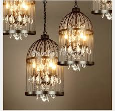 vintage home decor wholesale 35 45cm nordic birdcage crystal pendant lights iron cage home decor