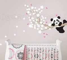 stickers panda chambre bébé cherry blossom wall decal with panda and butterflies custom