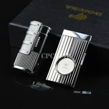 Cigar Gift Set Cohiba Windproof Cigarette Cigar Lighter Triple Flame Refillable