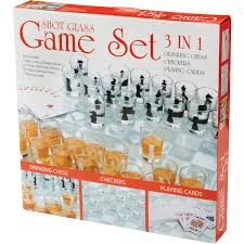 amazon chess set amazon com maxam spchess2 3 in 1 shot glass chess set kitchen