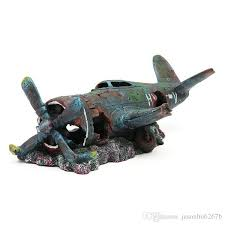 2018 aquarium decoration resin plane wreck airplane artificial craft