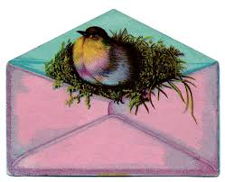 vintage images bird with nest in envelope the graphics fairy
