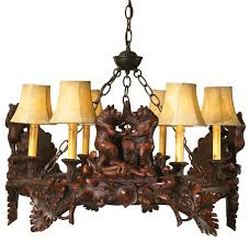 rustic chandeliers black forest dancing bears chandelier black