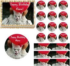 happy birthday creepy clown scary creepy scary clown edible cake topper image cupcakes clown cake