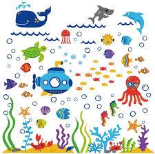 Ocean Wall Decals For Nursery by Amazon Com The Deep Blue Sea Decorative Peel U0026 Stick Wall Art