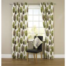 Large Print Curtains Large Image Of Wilko Retro Leaf Eyelet Curtains Green 117cm X