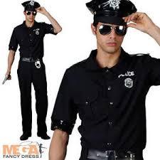 Terminator Halloween Costume Police Man Mens Fancy Dress Uniform Terminator 80s Adults