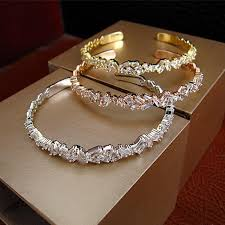 swarovski gold plated bracelet images Baguette bangle platinum plated with swarovski cut stones 18k jpg