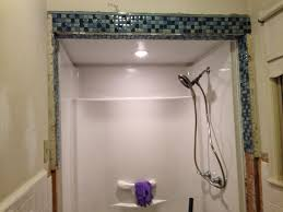free bathroom design online with simple mosaic border and recessed