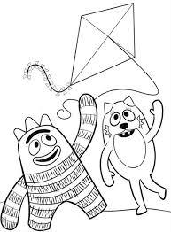brobee toodee playing kite yo gabba gabba coloring