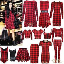 New Women Stylish Red Black Tartan Print Swing Tunic Crop Top