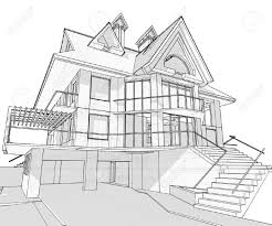 house vector technical draw royalty free cliparts vectors and