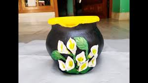 diy pot decoration calla lily clay flower youtube