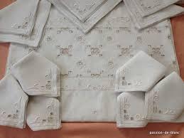 organdi de coton linge ancien de table et toilette u003e services nappes serviettes