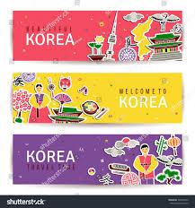 korean banners set horizontal cards traditional stock vector