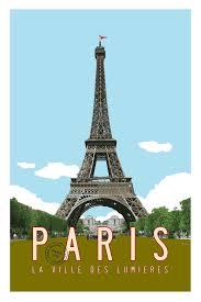 travel posters images Vintage paris travel poster eiffel tower illustration transit jpg