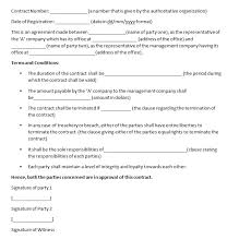 management contract template contract agreements formats u0026 examples