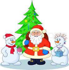 santa claus and christmas tree contours stock vector colourbox
