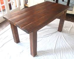 Dark Wooden Table Top Rustic Solid Wood Plank Kitchen Dining Table Stained In Dark
