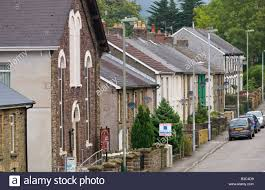 typical south wales valley street at crosskeys gwent with house