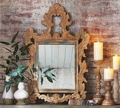 ornate carved wood mirror pottery barn