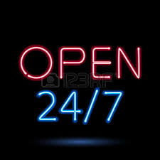 Open Light Up Sign Neon Sign Light Glow Open Heart Vector Illustration Royalty Free