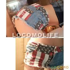 American Flag Jeans Women Us Flag Mini Short Denim Jeans Pant Small Fft220s