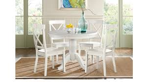 Cindy Crawford Dining Room Sets Brynwood White 5 Pc Pedestal Dining Set White Chairs Round