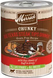 merrick chunky grain free big steak tips dinner canned