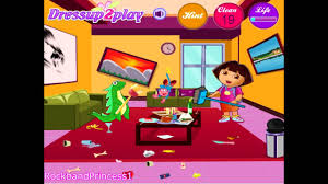 dora the explorer room cleaning games youtube